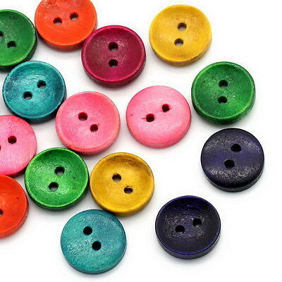 50PCs Wood Sewing Buttons 2 Holes Round Concave Mixed Cardmaking 15mm