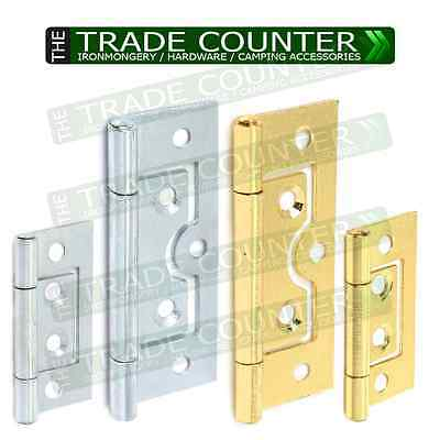 Flush Door Hinges ZINC or BRASS 2 x 40,50,60,75mm Small Large Cabinet Cupboard