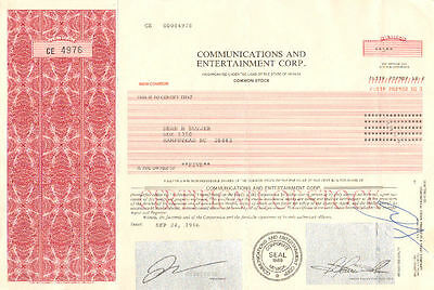 Communications and Entertainment > 1996 Jersey City New Jersey stock certificate