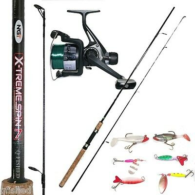 X-treme Spin 9ft 2pc 5-25g Carbon Spinning Fishing Rod & Reel + 6 Spinners Lures