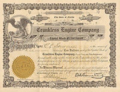 Crankless Engine Company > 1926 Jacksonville Florida old stock certificate share