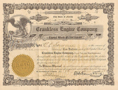 Crankless Engine Company   1926 Jacksonville Florida old stock certificate share