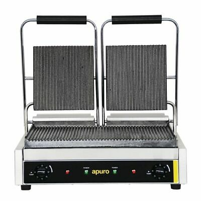 Contact Grill / Sandwich Press Ribbed Cast Iron Commercial Double Twin Apuro