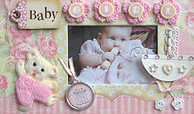 Scrapbook Baby Girl Photo Album With Embellishments On Cover ~ Keepsake Newborn