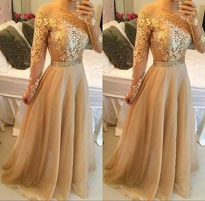 Long Sleeves Appliques Evening Dress Celebrity Formal Party Prom Pageant Gown