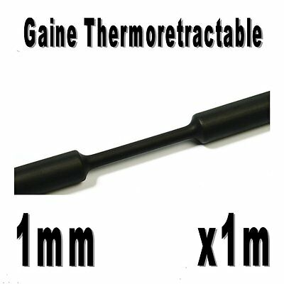 Gaine Thermo Rétractable 2:1 - Diam. 1 mm - Noir - 1m