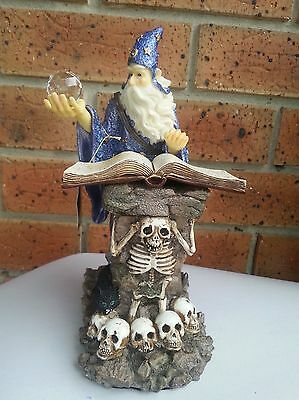 Large Reading Spell Wizard With Crystal Ball Figurine Statue Ornament Skull
