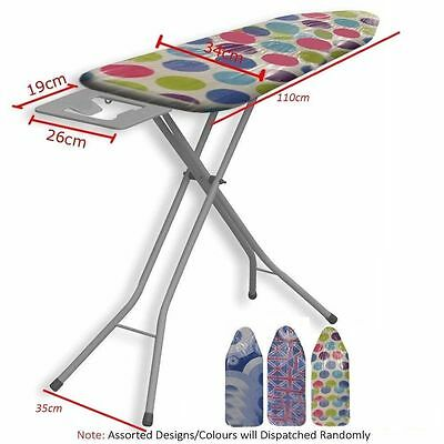 Deluxe Wide Metal Iron Ironing Board Table 10 Step Height Adjustable Non Slip