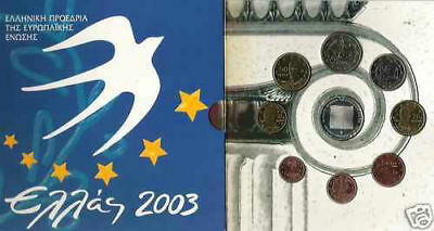 Greece Grece Grecia BU 2003 KMS 1 cent to 2 Euro OFFICIAL + 10 EURO SILVER PROOF