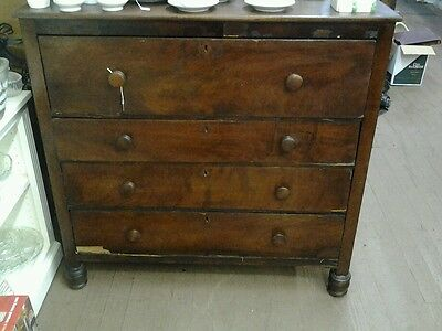 Antique Chest of Drawers (Walnut?) 1800's? from Savannah Ga. XIIII ON BOTTOM