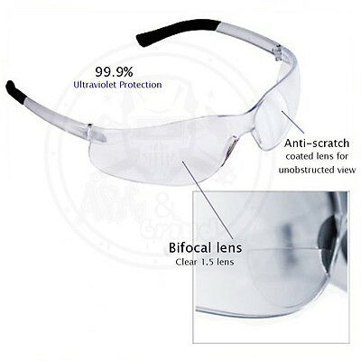 52b9bbbdd427 (3 Pack) Bifocal Safety Glasses Clear 1.0 Diopter Reader Safety Glasses
