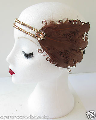 Brown Feather Headpiece Vintage 1920s Flapper Pearl Headband Great Gatsby L28