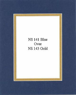 Pack of 20 11x14 Blue/Gold Picture Double Mat for 8x10 Photo + Backing + Bags