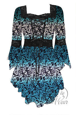 Dare to Wear Victorian Gothic Boho Plus Size Renaissance Corset Top Teal Tide