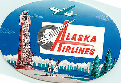 ALASKA AIRLINES - Beautiful and Scarce ART DECO Luggage Label, c. 1955