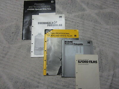 5 Vintage Film Darkroom & Developing Manuals 4 Kodak & 1 Ilford