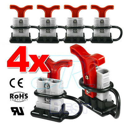4x 50 Amp Anderson Plug Style Connectors Handle T-Bar Dust Cap Cover 12-24V