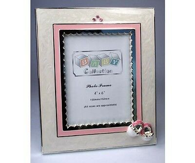 Silver Plated Baby Girl Enamelled Photo Frame Keepsake ~ Christening ~ Birth ~
