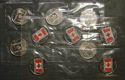 Canada 2015 Canadian flag 50th anniversary 25 cent 25c quarter red plain 10-pack
