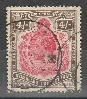 Nyasaland 1913 Kgv 4/- Wmk Multi Crown Ca Used