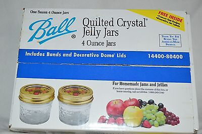 Ball 12 4oz Quilted Crystal Jelly Jars Canning NIB Bands Decorative Dome Lids