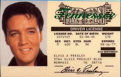 Elvis Presley Tennessee Drivers License - Novelty