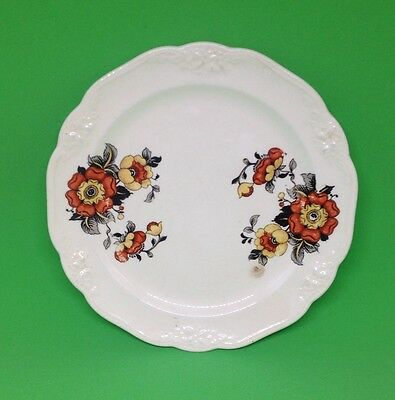 Chelsea China Red,Yellow, Black flowers saucer antique vintage spanish style