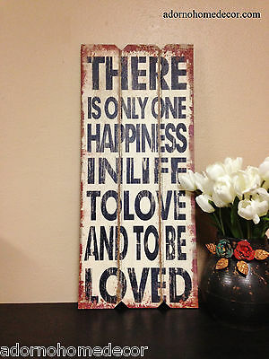 Large Distressed Wood Sign Wall Decor Antique Vintage Shabby Plaque Happiness