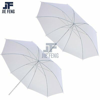 "2 x 33"" White Photography Light Photo Studio Video Translucent Soft Umbrella Set"