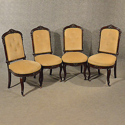 Antique Upholstered Dining Chairs Quality Set 4 English Victorian Mahogany c1890