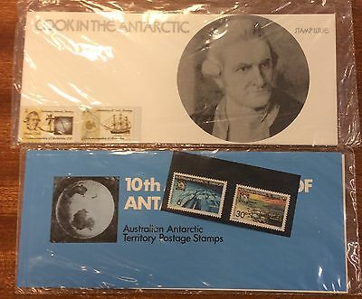 1971-1972 AAT Antarctic treaty and cook clear mount presentation packs