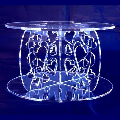 Acrylic Hearts Cross Pillars 10cm, 15cm Base & Top, Wedding & Party Cake Stands