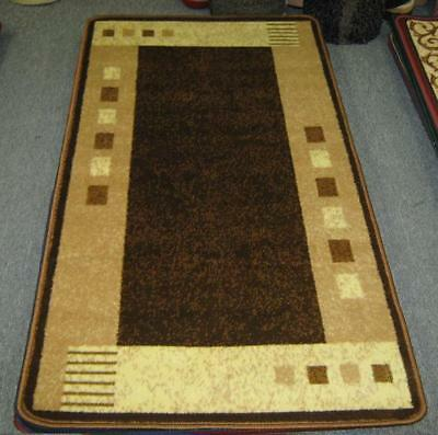 New Brown Modern Heatset Hallway Runner Floor Rug 80X150Cm
