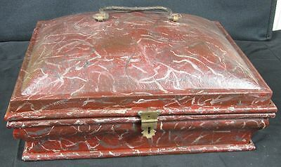 Antique Hand Painted Toleware Tin Dome Top Spice Box