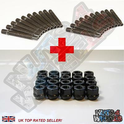 20 x Wheel Stud Conversion + Open Blk Nuts 82mm (+20mm) fits BMW 3 Series E46