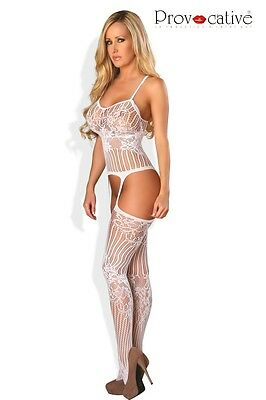 Body Stocking Bodysuit Netz Reizwäsche sexy Damen Dessous Provocative Weiss 4460