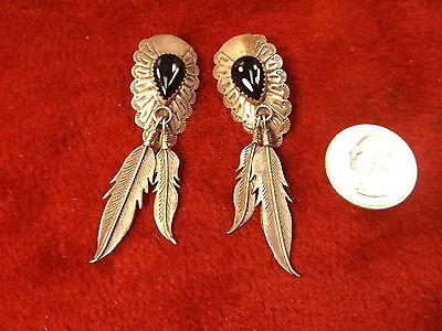 Nice Old Vtg Pair Of Sterling Silver & Onyx Southwestern Earrings With Feathers