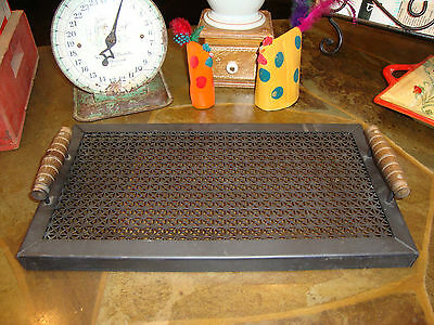 "Antique/vintage Black Metal Floor Grate Made Into Tray  15 3/4"" X 8 1/2"""