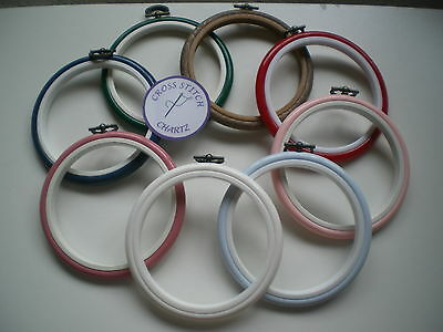 """4"""" Round Flexi Hoop 8 COLOURS Red Blue Pink Wood Cross Stitch Embroidery Frame"""