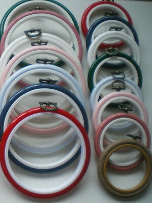 "2.5"" or 4"" ROUND FLEXI HOOP Pick from 8 COLOURS Cross Stitch / Embroidery Frame"