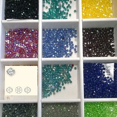 200x Czech Crystal Beads 5301 or 5328 mixed colours 4MM  bicone