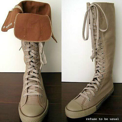 20 Hole Punk Rock Canvas Lace up Knee Hi Taupe Khaki Brown Sneaker Flat Boot
