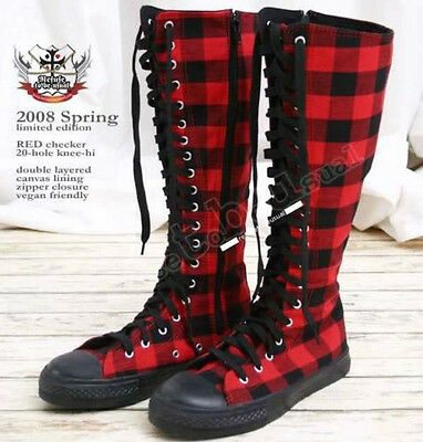 20 Hole Punk Rock Knee Hi Laceup Sneaker Flat Boot Black & Red Checker Plaid