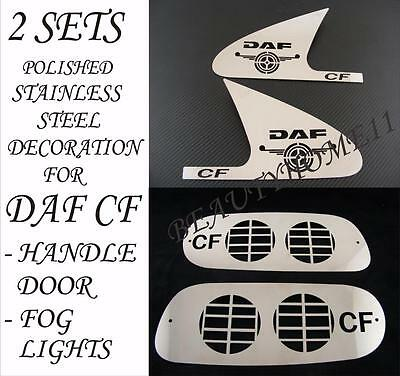 2 sets Handle Door/Fog Lights Decoration For DAF CF Made Of Stainless Steel