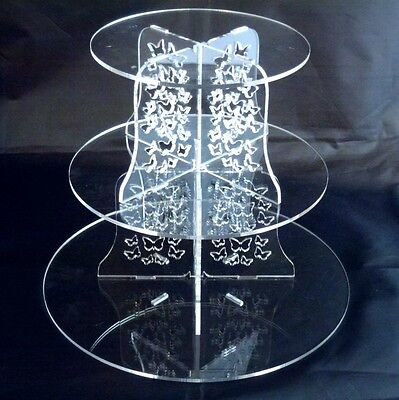 3 Tier Round Acrylic Butterflies Wedding & Party Cake Stand