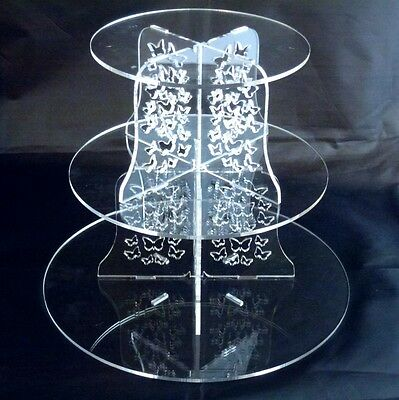 3 Tier Round Clear Acrylic Butterflies Wedding & Party Cake Stand