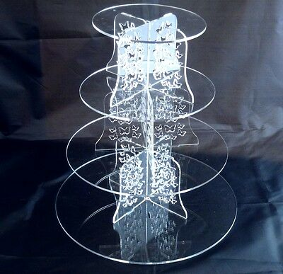 Four Tier Round Acrylic Butterflies Wedding & Party Cake Stand