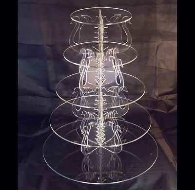 Five Tier Round Acrylic Swan Wedding & Party Cake Stand