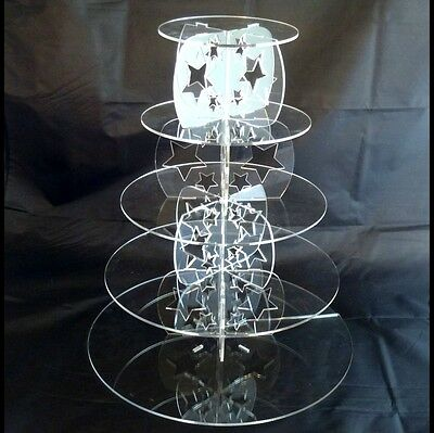 Five Tier Round Acrylic Stars Wedding & Party Cake Stand
