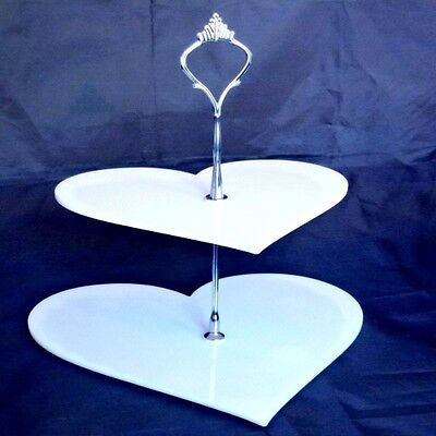 Two Tier White Heart Cake Stand